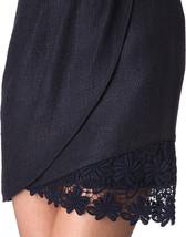 NWT ELIE TAHARI 10 mini skirt with lace hem career cocktail navy feminine sexy - $116.39