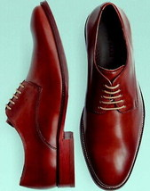 Men Oxford Maroon White Laces Premium Quality Handcrafted Leather Shoes - $139.99+