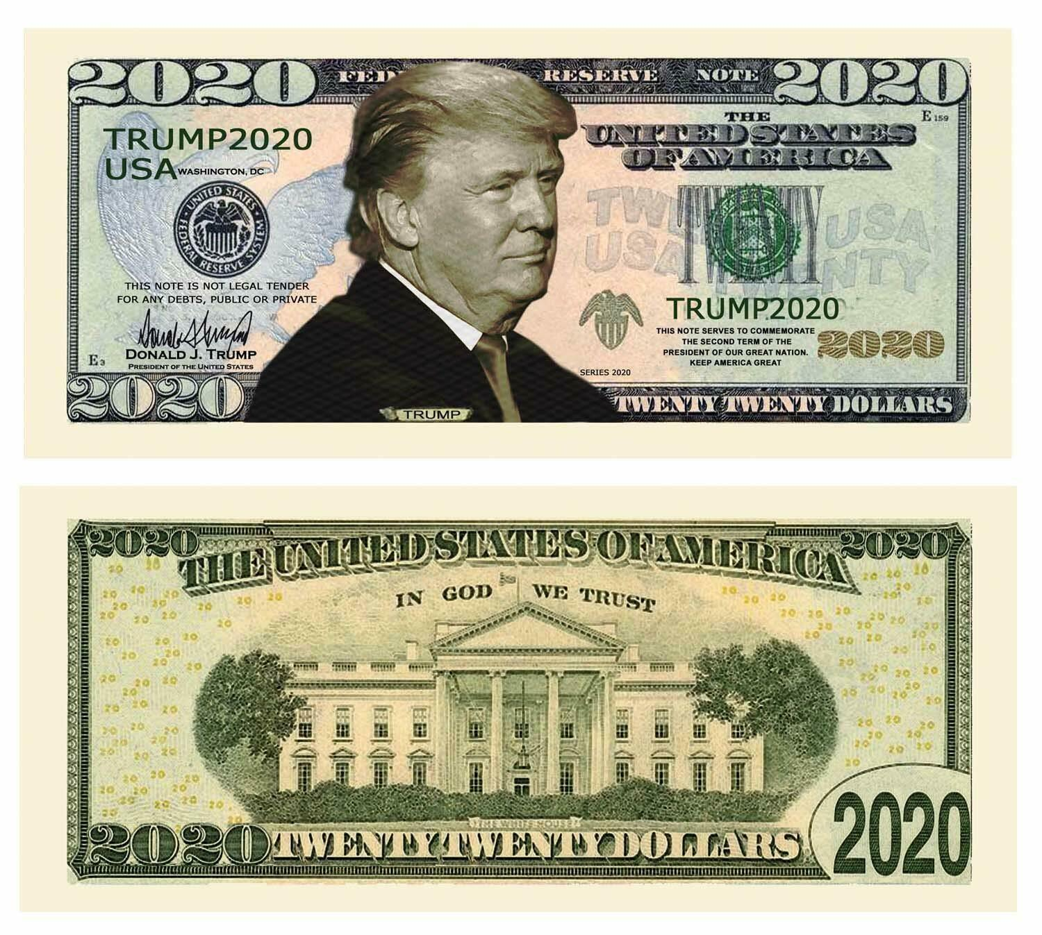 Primary image for Lot of 25 Presidential Dollar Bills Donald Trump 2020