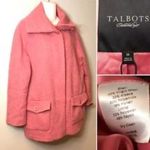 {TALBOTS} Medium Pink Mod Fuzzy Coat Wool Alpaca Mohair Blend Jacket  - $47.97