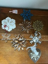 Gently Used Lot of Large Clear Plastic Glass Painted Wood Glittery SNOWF... - $19.39
