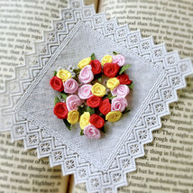 20 Colorful Trio Roses,Mini Satin Roses,Craft Flowers,Sewing Applique,Fa... - $7.95