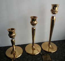 "Brass & Lucite Glass Candlesticks  5"" 7"" 9"" H  Partylite #P9258 Richmond... - $98.95"