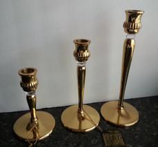 "Brass & Lucite Glass Candlesticks  5"" 7"" 9"" H  Partylite #P9258 Richmond... - $98.95"