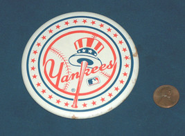 "Vintage New York Yankees MLB Baseball Round 3 3/8"" Jacket Button Pin 2-D... - $12.85"