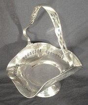 VINTAGE DOLLY VARDEN FILIGREE SILVER PLATE RUFFLE TOP BRIDES BOWL BASKET... - $121.54