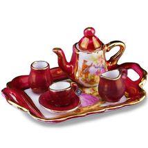 Dollhouse Tea Set Red Lustre Limoges Style 1.350/5 Reutter Miniature - $28.00
