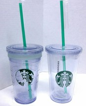 LOT (2) STARBUCKS COFFEE COMPANY 16 oz CLEAR MENU INSULATED COLD CUPS W/... - $44.88