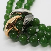 GREEN JADE 925 STERLING YELLOW BURNISHED SILVER NECKLACE STRAND, THREE WIRES image 3