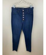 Fashion Nova 1X Super High Waist Exposed Button Fly Skinny Blue Jeans St... - $19.99