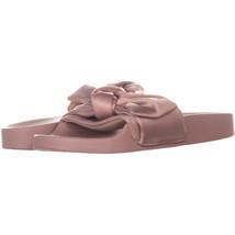 Steve Madden Silky Bow Detail Slide Sandals 349, PinkSatin, 5 US - $15.35