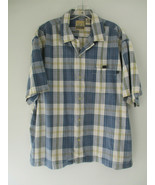 AE Surf Co. Large 100% Cotton Blue Plaid Short Sleeve Button Front with ... - $20.80