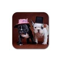 Cute Sweet Bulldog Puppy Puppies Dogs Pet Animal (Square) Rubber Coaster - $2.99