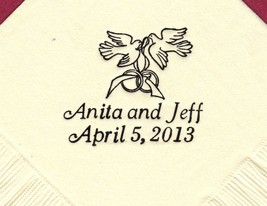 Doves With Rings Logo 50 Personalized Printed Luncheon Dinner Napkins - $11.87+