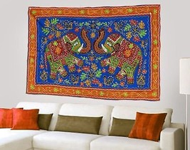 Decorative Cotton Hand Embroidery Blue Elephant Wall Hanging Home Decor ... - $609,40 MXN