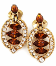 Bogoff Earrings  Vintage Topaz and Clear Rhinestone Beauties   Art Deco ... - $34.00
