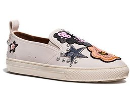Coach Women's Shoes Sneakers with Sequins and Star Patches (10, Chalk)