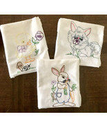 Vintage Tea Towels 3 Hand Embroidered Cat Bunny and Baby Duckling with S... - $30.00