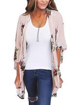 Women Floral Kimono Cardigan Chiffon Casual Loose Open Front Cover Up To... - $16.94