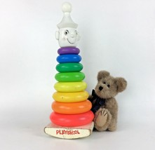 1960's Playskool Rocking Clown Vtg Toy Rainbow Color Stacking Rings Play... - $32.62