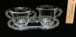 Imperial Glass Candlewick Bubbles Creamer & Sugar w/ Tray 3 Piece Set Vi... - $18.80