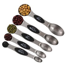 Magnetic Measuring Spoons Stainless Steel Set Of 5 Double Sided Kitchen ... - £9.83 GBP
