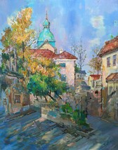 Original Oil Painting Church Impressionism Handmade Landscape  60X75 cm - $1,800.00