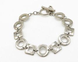 925 Sterling Silver - Vintage Geometric Shape Pattern Bracelet - B2733 - $48.40