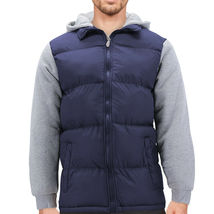 Men's Hybrid Puffer Lightweight Utility Insulated Hooded Quilted Zipper Jacket image 14