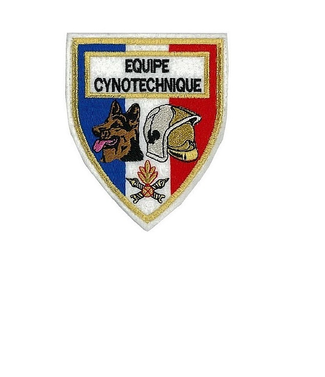 Apeurs pompiers equipe cynotechnique french fire department k 9 4 x 3.75 in med white felt 10.99