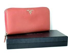 Auth PRADA Milano Calfskin Pink Leather Zip Around Long Wallet Purse Ita... - $187.11