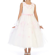 Pink Sleeveless White Girl Dress with Flower Petals on Neckline and Tulle Skirt - $50.00