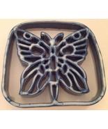 Pottery Trivet Butterfly Blue White Silhouette Carved  Drip Glaze Cerami... - $19.34