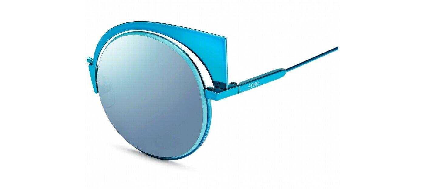 FENDI EYESHINE FF0177S Aqua Blue Mirrored Metal Sunglasses Round Runway 0177