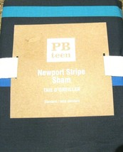 Pottery Barn Teen Newport Stripe Standard Sham Navy Blue Orange Green 26x20 NIP - $28.70
