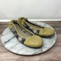 Burberry London Nova Yellow Plaid Patent Leather Ballet Flats Womens Size 40/10 - $129.95