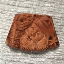 Finely Carved Red & Cream Stone Santa Claus Kris Kringle & House Trapezo... - $27.90