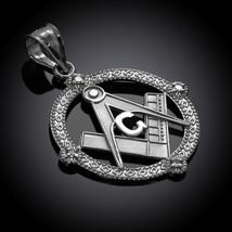 Sterling Silver Freemason Round Masonic CZ Pendant Necklace - €19,82 EUR+