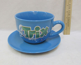 Trix Cereal Bowl Large Mug Cup w/ Handle Saucer Plate Silly Rabbit Blue ... - $18.80
