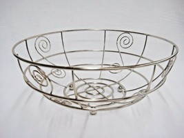 "Silver Metal Open Wire Basket w Scroll Work Round Feet 11.75"" x 4.5"" Cen... - $14.84"