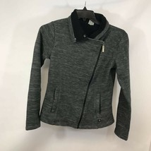Bench Womens Jacket Metallic Gray Space Dye Asymmetric Zip Front Fleece ... - $29.69