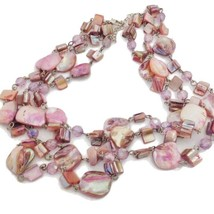 Pink MOP & Shell 3 Strands Chain Linked Bib Necklace, Handmade Beach Cru... - $19.79