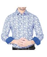 El General Men's Casual Shirt Long Sleeve 100% Cotton White/Blue - €31,99 EUR