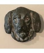 Dog Brooch Pin Vintage Handmade Gray Modeled Sculpted Clay  - $27.99