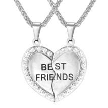U7 BFF Necklace for Girls Set of 2 Rhinestone Heart Shaped Friendship Pe... - $29.99