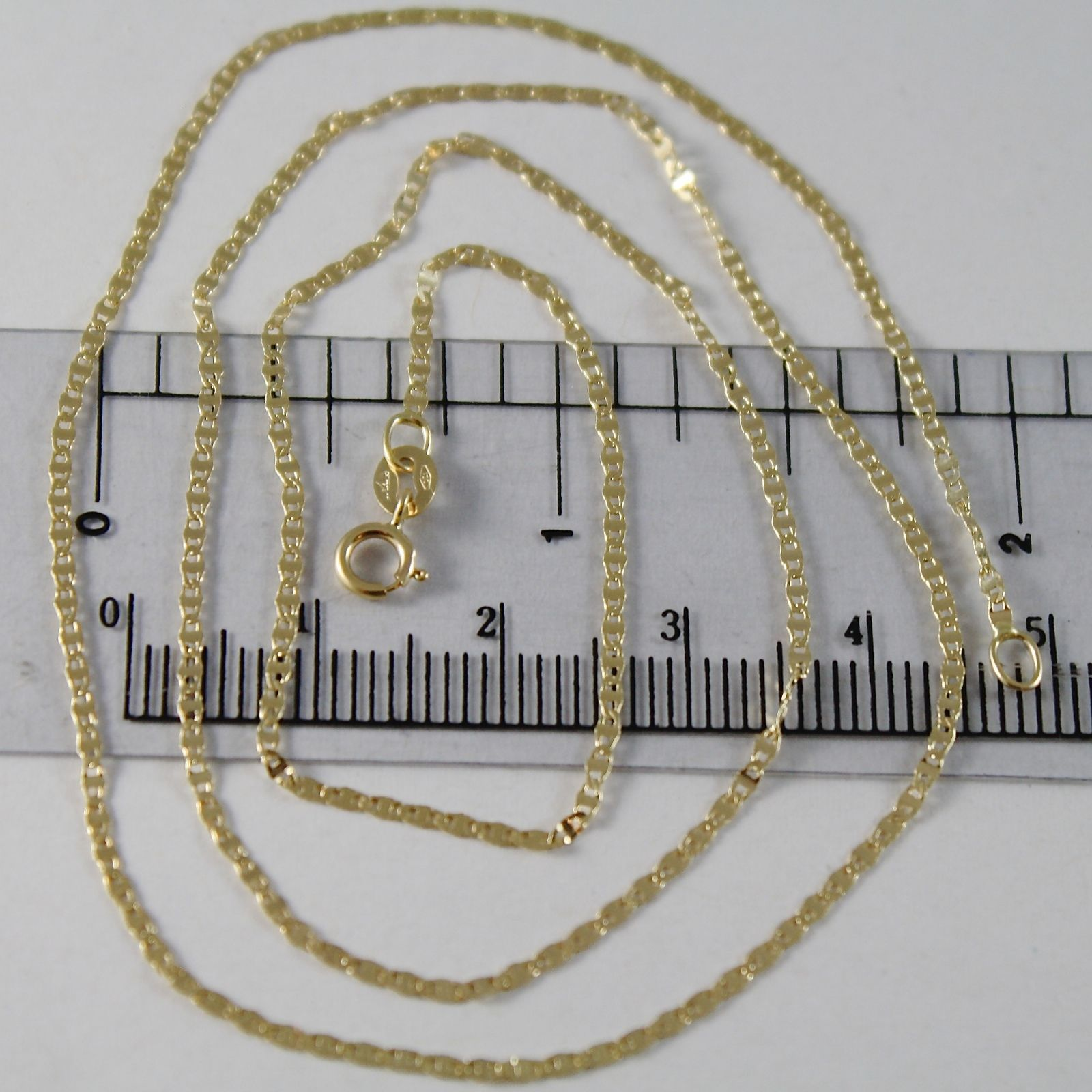18K YELLOW GOLD CHAIN MINI OVAL FLAT LINK 1 MM WIDTH 15.75 INCHES MADE IN ITALY