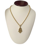 "Mens 14K Gold GP Hip Hop Hand Of God Hamsa Pendant Necklace w/ 30"" Rope ... - $8.59"