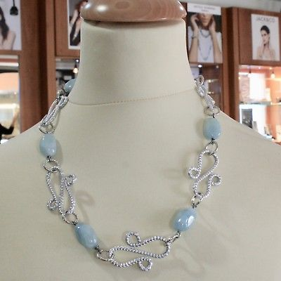 ALUMINUM NECKLACE WITH BLUE AQUAMARINE HAND-MADE IN ITALY 21 INCHES LONG