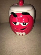 M&M Galerie 2003 Red & White Cookie Jar With M&M Red Lid - $8.90