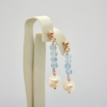 Drop Earrings Silver 925 Laminated in Rose Gold with Pearls and Aquamarine image 2